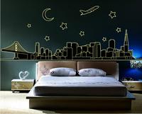 92*165cm 1set  large Luminous Stickers Fluorescent Stickers/ Fluorescent City/Wall Sticker Wall Mural Home Decor Room