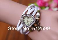 2014 New Arrival Fashion Girls Genuine Leather Retro Wristwatches Diamond Heart Dial Bracelet Heart Pendant quartz watch