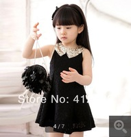 D12 kid apparel Princess dresses baby girls party dress summer beading collar tutu dresses  2015 Children's Clothing