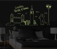 70*160cm 1set  Removable PVC Fashion Living Room Bedroom Stickers Photo London Bridge Luminous Wall StickerHome Decor