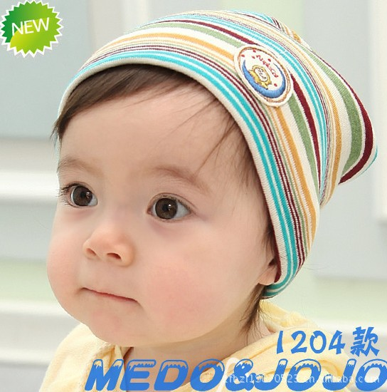 Ocean wind Fringe head kids hat Children's hat stripes cap Cotton baby hat free shipping(China (Mainland))