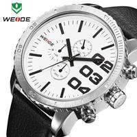 2014 WEIDE Mens Japan Quartz Watch Military Watch Sport Genuine Leather Strap Watch 30 Meters Waterproof
