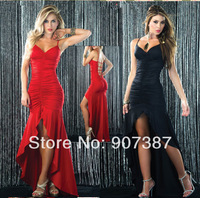 Free shipping 2014 Hot sale new style Occident Fold strap sexy red Fun dress S - XXXL  005