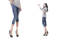 PS-S009 women's COOL SUMMER imitated jeans look cropped trousers, hot elastic slim short leggings, SMALL BROKEN look