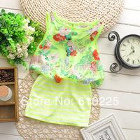 New 2014 Children's Clothing Flower Striped Dress Chiffon One-piece Dresses Summer Girl's Casual Dress