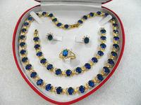 women's jewelry aquamarine gem yellow gold Earring Bracelet Necklace Ring +box