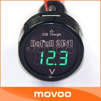 2in1 DC 12V 24V Panel Meter USB Charging Power Supply Phones Charger in Car Green LED Digital Voltmeter Car/Suv Voltage Monitor