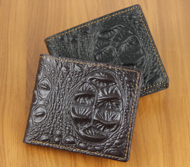 2014 new pattern fashion western brand men wallet genuine leather short casual biflod purse crocodile design male wallet(China (Mainland))