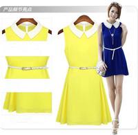 2014 Hot!! Candy Color girls Dress Thin sleeveless Chiffon Dress + Belt Size S M L XL make your skin more Brighter& Beautiful