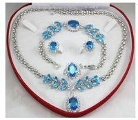 women's style sea aquamarine white gold Earring Bracelet Necklace Ring