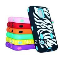 Latest Zebra Hybrid Rugged Impact Hard PC Inserts + Silicone Skin Case Cover for Samsung Galaxy S5 i9600 500pcs/lot