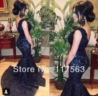 2014 Vestidos De Fiesta Navy Blue Mermaid Deep V Neck Lace  Formal Long Event Dress Evening Dress Women Gown Free Shipping WL209