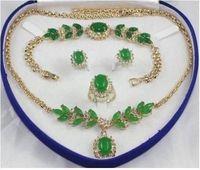 hot-set emerald jade oval Necklace Bracelet Ring Earring set