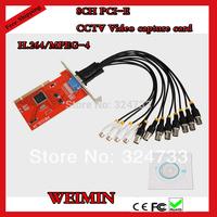 8 CH CCTV Cameras Video Capture Card,H.264 D1, 8CH PCI-E Windows XP/Vista/7 32bit/64bit PC DVR Card