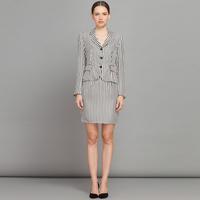 YIGELILA 812 Latest Europe Style High-end Women Full Sleeve Stripe OL Skirt Suits Free Shipping