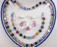Multicolor Zircon Link Bracelet/ Earrings /Ring / Necklace Set