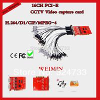 16CH CCTV  Video Capture Card,Real Time,H.264,D1, 8CH PCI-E Windows XP/Vista/7 32bit/64bit PC cctv camera card