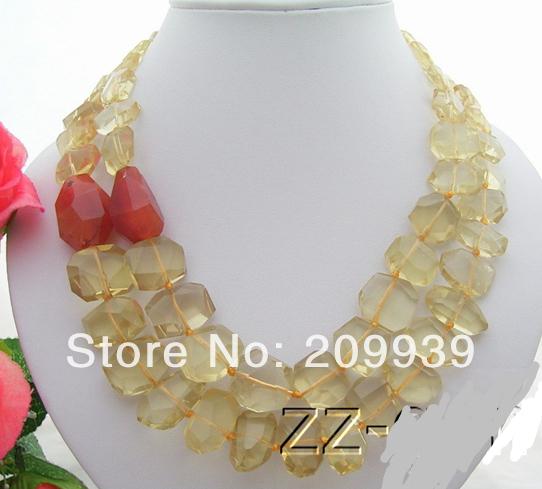 huij 003514 Natural 20mmMM Lemon Quartz&Carnelian Necklace(China (Mainland))