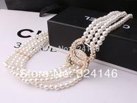 New Arrival elegance crystal  4rows pearl  belts Ms. luxury girdle women elastic belt wholesale