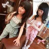 2014 new arrival Children summer set chiffon spaghetti strap set  child set short-sleeve capris set dot set girls skirt