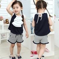 2014 summer female child stripe pants set children's clothing children's clothing