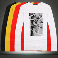 2014 T-shirts for men /male long sleeve o-neck slim bottomming t-shirt/ tree print  cotton t-shirt for male free shipping