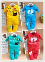 Hot sale Spring / Autumn Candy color cartoon baby cloth set infant long sleeve cloth suit Top T shirt + pants 1336