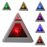 7 LED Color Change Pyramid Digital Alarm Clock