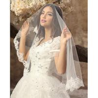 Lace decoration ultra long wedding dress veil diamond train wedding dress accessories