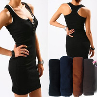 Free Shipping 2014 New Fashion Women Casual Sleeveless Summer Dress Long Knitted Dresses Cotton+Polyester 10 Colors(CW04047)
