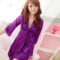 Summer sexy sleepwear women lace temptation elegant robe transparent spaghetti strap nightgown twinset