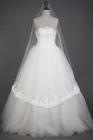 Solid color vintage eternal quality car three-dimensional lace decoration bridal veil ivory soft gauze material