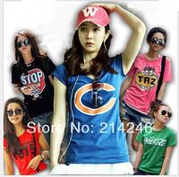 free shipping new 2014 women t-shirt  Women's Printed T Shirts  cotton T-SHIRT