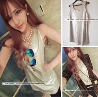 2014 spring and summer women's viscose comfortable silver medium-long spaghetti strap vest female