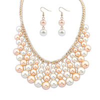 MOQ10USD New Promotion Luxury Fashion Pearl Jewelry Sets statement necklaces & pendants and long earrings for women Jewelry