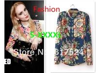 S-XXXXL plus size HOT New Fashion Ladies' elegant floral print blouse casual vintage shirt slim high quality brand designer tops