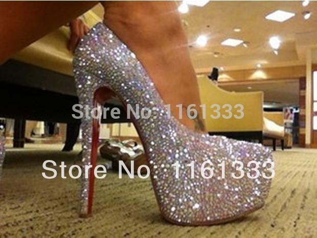 14CM 16CM red bottom shoes Daffodile diamond platform pump ,bridal shoes Crystal Platform High Heels Daffodile Celebrity(China (Mainland))