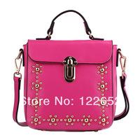 2014 female new arrival genuine leather rivet handbag portable one shoulder bag free shipping B-127