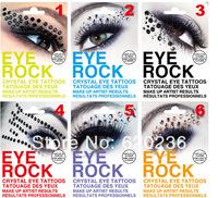 2014 New Arrive Fashion Eye Rock Eyeshadow,6colors Rhinestone Crystal Tattoos Stickers Eyelid Makeup Decoration Tools 50pairs