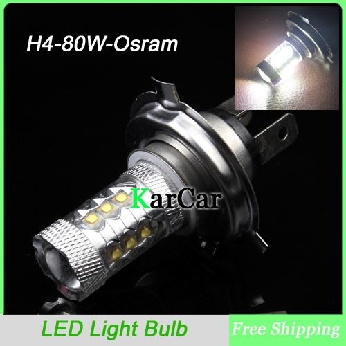 80w h4 osram led super voiture lumineux feux de jour, feu de brouillard voiture tête h4 ampoules livraison gratuite