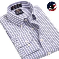 Cheap Business Casual Shirts Mens Stripe Long-sleeve Cotton Work Shirt Business Formal Shirt Dress for men Free Shipping