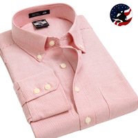 World New Mens Shirts New Cotton/Oxford  Mandarin Collar Long-sleeve Business Striped Dress Shirt Traditional Fit Formal Shirts