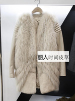 High quality 2014 raccoon fur rabbit fur coat genuine sheepskin patchwork medium-long fur leather clothing outerwear P3