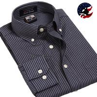 New Fashion Mens Business Shirts Clothing Black Royal Oxford Combing Silk Stripe Dress Shirts Long-sleeve Button Down Shirts