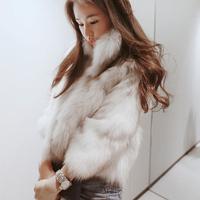 2014 new 100% real natural fox fur coat slim stand collar short coat TP1