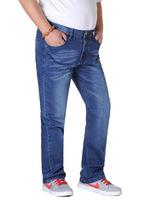 jeans men large size 38 to 50 blue bleached color high-waist comfortable loose plus size