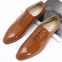 Male casual single shoes fashion pointed toe shoes low-top the trend leather commercial elevator yellow men's flat shoes