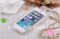 High quality back cover Handbag Style Perfume Bottle case for iphone 4 4s with Leather Lanyard Chain