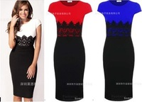 Large size SML XL XXL Women knee sleeve lace dress winter leisure OL stitching slim evening party Midi Bodycon Dress