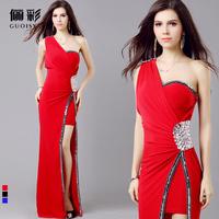 Evening dress long 2014 design slim one shoulder star costume fashion costume long design dress Free shipping